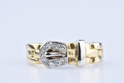 Bague en or jaune 18 ct 9 diamants env. 0,09 ct au total 2