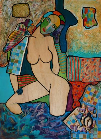 Hassan Ertugrul KAHRAMAN: Bather with parrot - Acrylic on signed panel 2