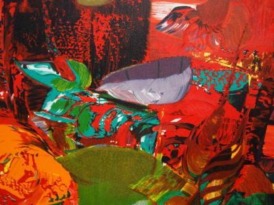 Gerard Le Nabault Jardin Rouge Lithographie Originale Signee