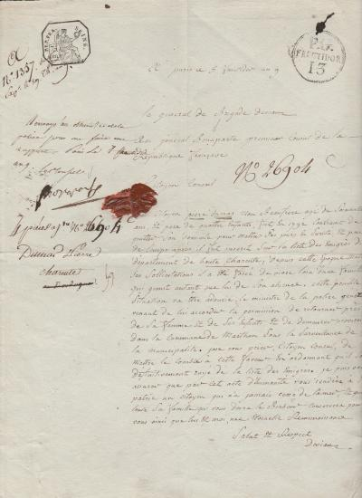 NAPOLEON BONAPARTE - Letter signed as First Consul