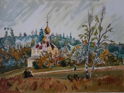 Yves BRAYER : RUSSIE, Petite Eglise Orthodoxe - Lithographie originale signée 2