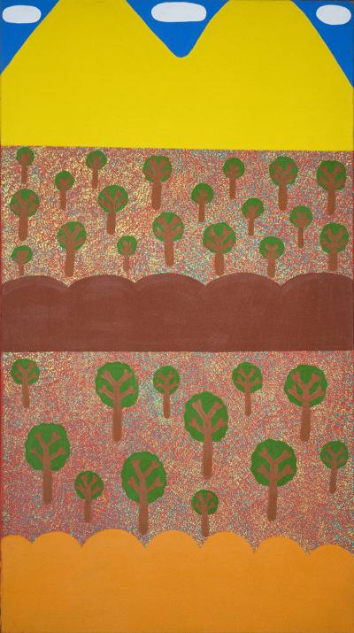 Aboriginal painting, Benita Multa NAPURRULA, Oak trees in the desert near Kunkayunti, acrylic on canvas, 2003