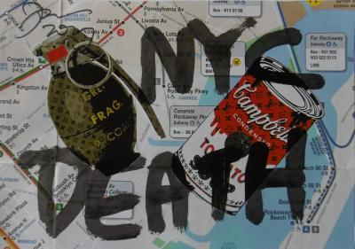 Death NYC Unique piece tag collage on plan of New York