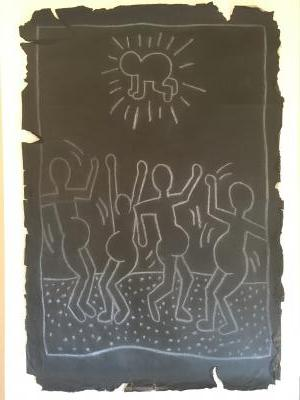 Keith HARING (1958-1990) Nativity, c.1980/85, chalk on a paper