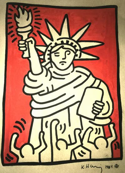 KEITH HARING: STATUE OF LIBERTY.