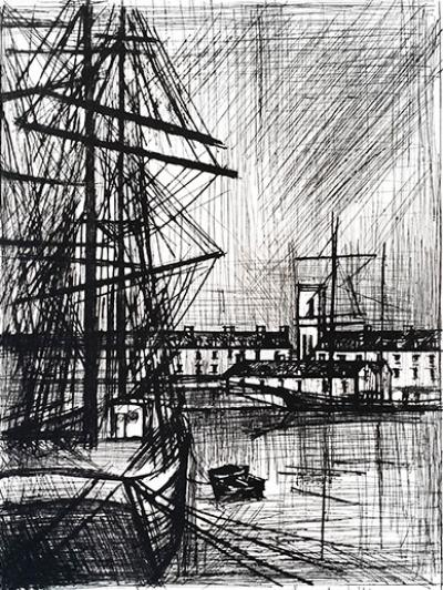 Bernard Buffet, Terre Nuevas engraving signed and justified in pencil