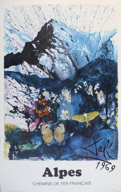 Salvador DALI (1904-1989) - The Alps, original signed lithograph , SNCF - Large Model