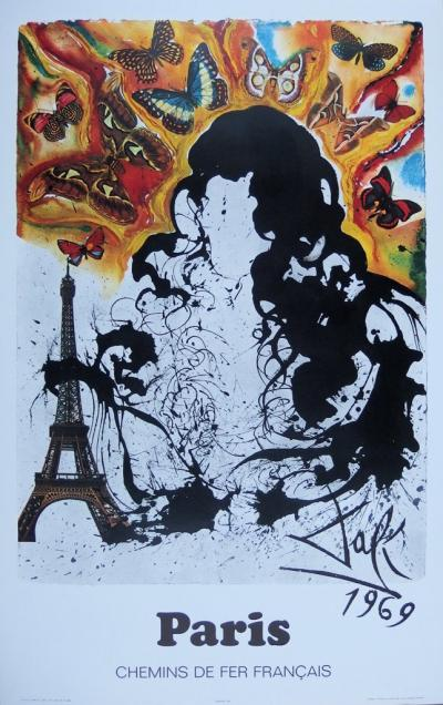 Salvador DALI (1904-1989) - Paris, original lithograph, signed, SNCF, large model