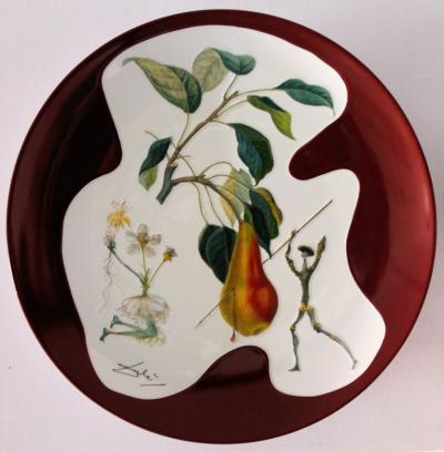 DALI Salvador - Don Quichotte Pear, signed original porcelain plate