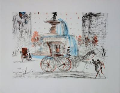 Salvador DALI (d'après) : New-York City : PLAZA - Lithographie signée # RIVES