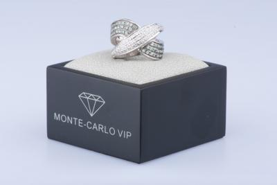 Bague en or blanc 18 ct 55 diamants env. 0.55 ct au total 60 saphirs verts env. 0.60 ct au total 2
