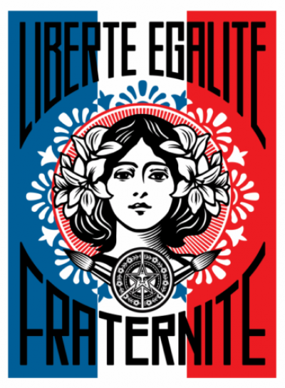 Obey Giant aka Shepard Fairey (USA, 1970) - Liberté Egalité Fraternité (Freedom, Equality, Fraternity)