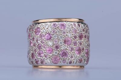 Band ring Pomellato Sabbia in white/rose gold 18 carats diamonds and pink sapphires