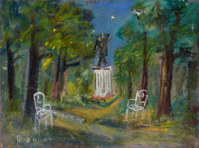 Roland DUBUC - The Van Gogh Square at Auvers sur Oise, signed oil on canvas