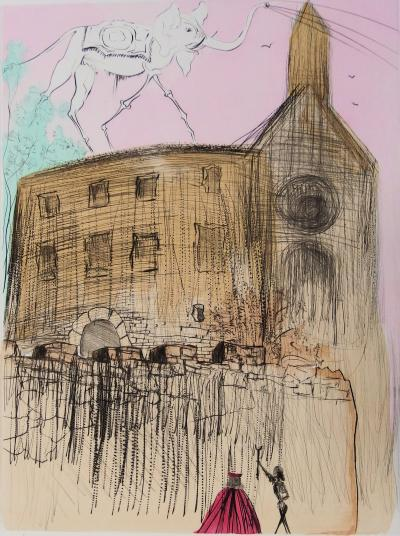 Salvador DALI: The Castle of Gala - Original signed etching