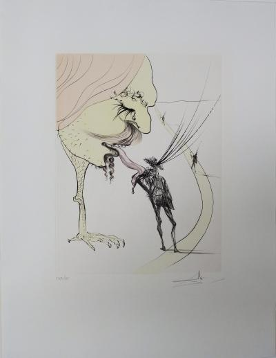 Salvador DALI - Picasso, A Ticket for Glory, original signed engraving