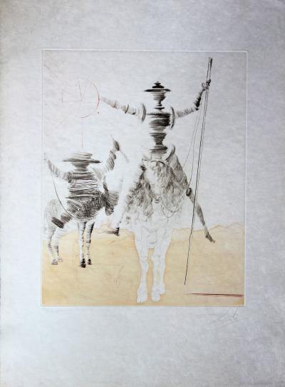 Salvador Dali: Don Quixote and Sancho Panza - Original signed etching