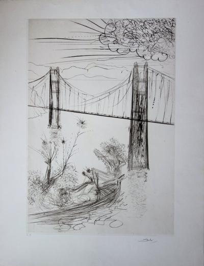 Salvador Dali: San Francisco: Golden Gate Bridge - Original signed etching