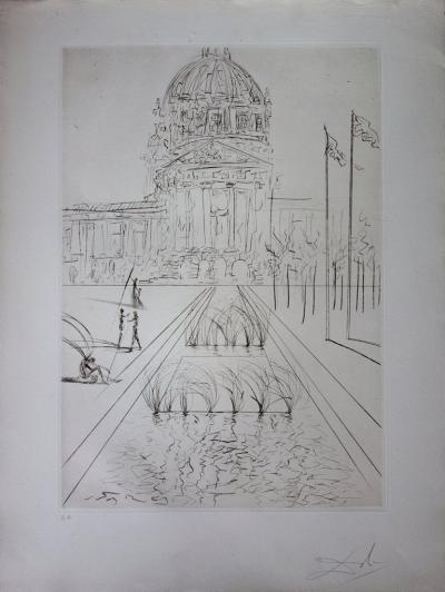 Salvador Dali - San Francisco: City Hall - original signed engraving