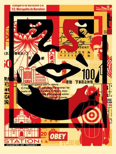 Shepard Fairey - Face collage II, Lithographie signée 2