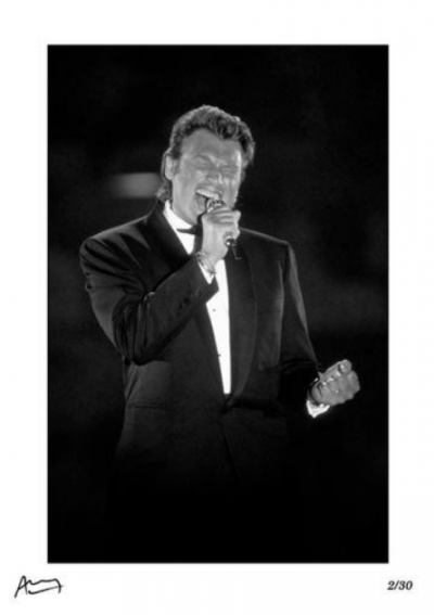 Francis Apesteguy, Johnny Hallyday. On stage in Paris, 1991