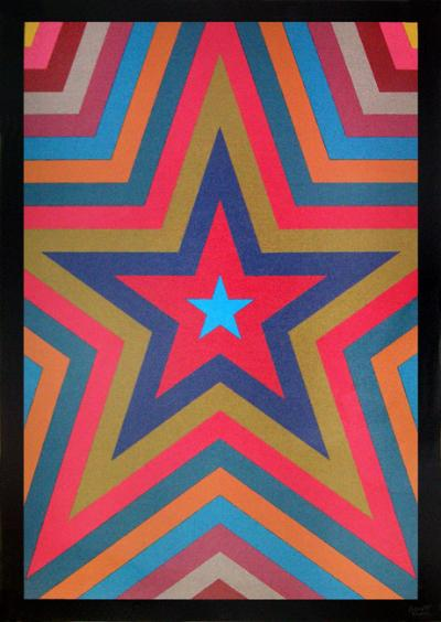 Sol LEWITT - Five pointed star with colorbands, 1992 -Sérigraphie originale signée au crayon