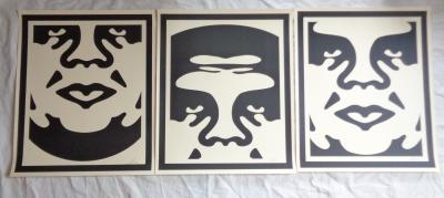 Obey Giant aka Shepard Fairey, 3 screenprint triptych, 3 faces, signed and dated by hand by the artist