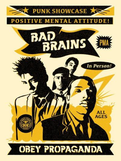 Shepard Fairey - Bad Brains Punk Showcase Rock For Light, Lithographie signée et numérotée 2