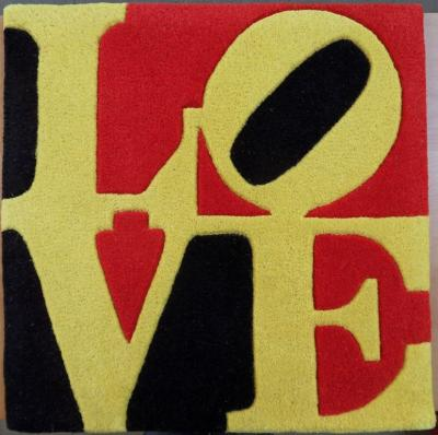 Robert Indiana - Hand-carded carpet in wool, Liebe Love