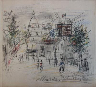 Maurice UTRILLO - The Moulin de la Galette and the Sacré Coeur seen from the Maquis, Original signed drawing, circa 1942