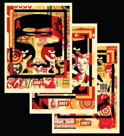 Obey Giant dit, Shepard Fairey (1970) - Tryptique Obey collage