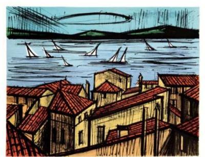 Bernard Buffet roofs of St Tropez: lithograph signed and justified in pencil