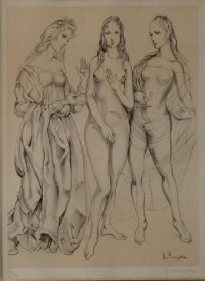 Tsuguharu Foujita - Three Graces, lithograph signed and justified in pencil