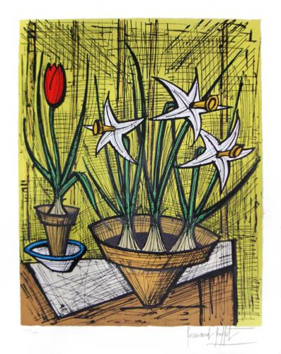 Bernard Buffet - Narcissus and tulip circa 1990 signed in pencil
