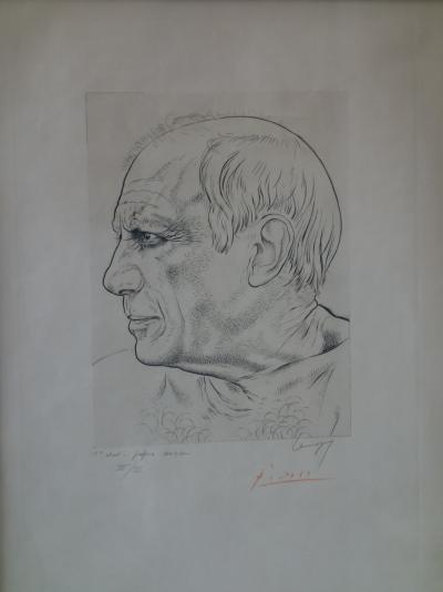 Portrait of Picasso - Engraving signed by PICASSO