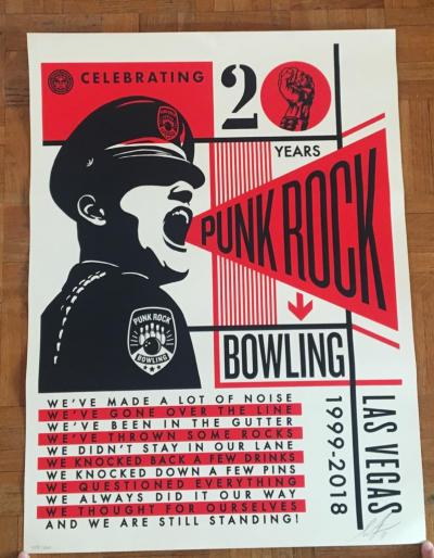 Silkscreen Shepard Obey - Punk Rock Bowling Signed Numbered and dated