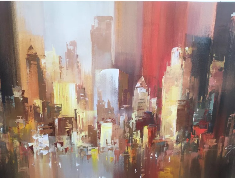 Wilfred lang large original painting of new york international