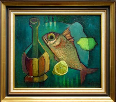 Louis Toffoli - Basco and fish - Oil on canvas signed
