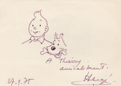 HERGE - Original signed Tintin and Snowy drawing