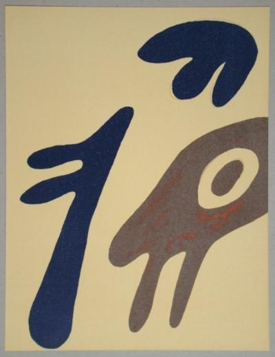 JEAN ARP - Original lithograph - Head, torso and navel on table - 1962