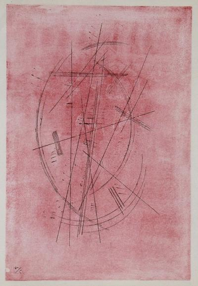 WASSILY KANDINSKY (after) - Lithograph in colours - Zeichnung in rosa / Pink drawing - 1952