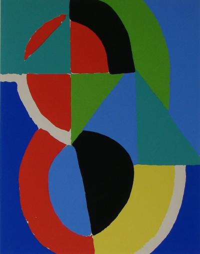 SONIA DELAUNAY ( after ) - Stencil in colours - 1956