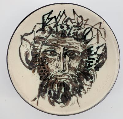 Pablo Picasso : Visage de faune - Céramique signée - Madoura 2