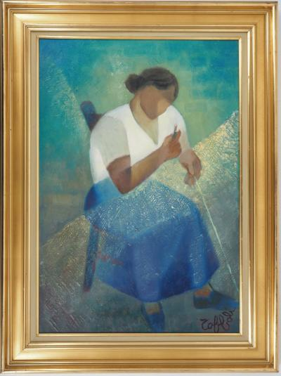 Louis TOFFOLI - The Fisherman's wife, original oil painting