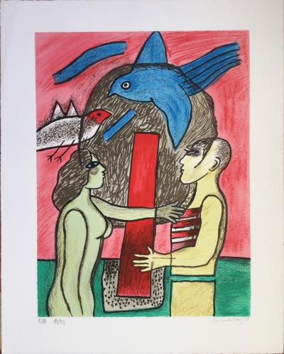 CORNEILLE (1922 - 2010),couple with the blue bird, 2003, original lithograph