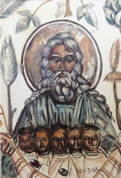 Léonard Tsuguharu FOUJITA - God the Father and His children, original Gouache