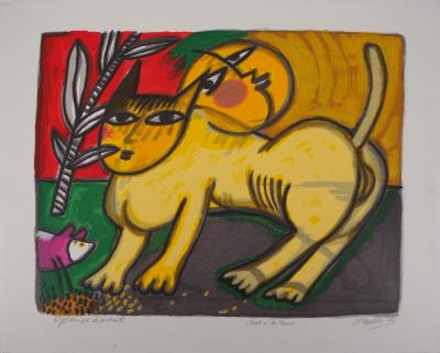Guillaume Corneille (1922-2010) - Cat with Moon, 1996, original signed lithograph