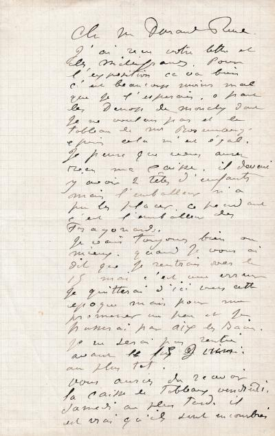 Auguste RENOIR - Autograph signed letter to his merchant Paul Durand-Ruel