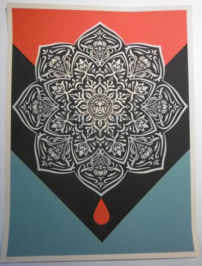Shepard Fairey said Obey Giant, (USA, 1970), 2017, Blood & Oil Mandala signed numbered and dated by hand by the artist.