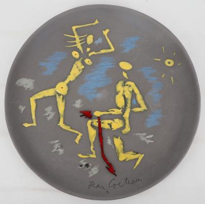 Jean COCTEAU - Atalante et Hippomème, signed original ceramic (5 copies)